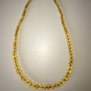 Vintage Yellow Gold Cut Glass Beaded Necklace